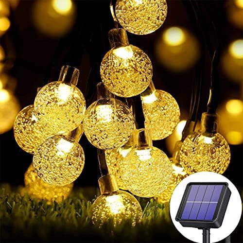 MOLVCE Solar Lichterkette Aussen Warmweiß 30 LEDs 5 Meter Lichterkette Außen mit Kristallkugeln, Wasserdichten Kupferdrähten für Feste, Garten, Balkons, Partys, Hochzeiten, Kinder usw