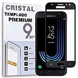 REY Protector de Pantalla Curvo para Samsung Galaxy J5 2017, Negro, Cristal Vidrio Templado Premium, 3D / 4D / 5D