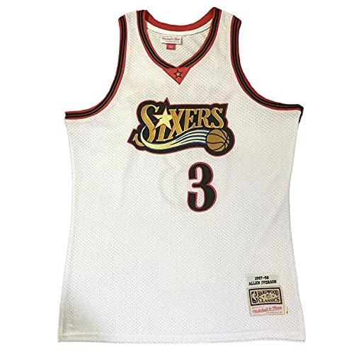 KKSY Maglie da Uomo Philadelphia 76ers # 3 Allen Iverson 1997-98 Maglie da Basket Retro Gilet Traspirante Swingman Canotta,White,XL