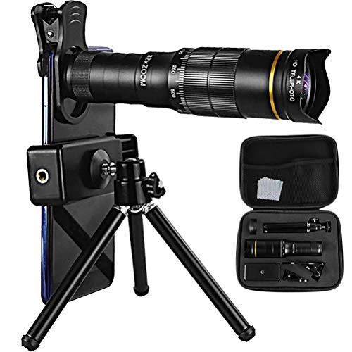 4K 10-300X40 mm Super-Telezoom-Monokular-Teleskop für Handy, Teleskop für Kinder und Anfänger, Selfie Ring Light with Tripod Stand, Fernrohr Monocular Telescope für Klettern Compatible (4k)