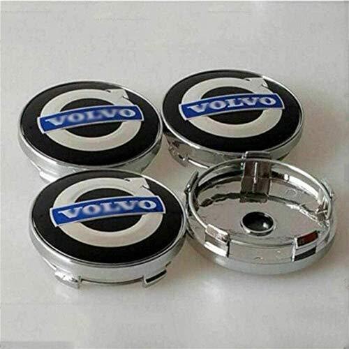 4pcs 60mm Metal Car Wheel Center Hub Caps Centro De La Rueda Logo Insignia Para V-Olvo S40s60l S80l Xc60 Xc90, Negro Azul