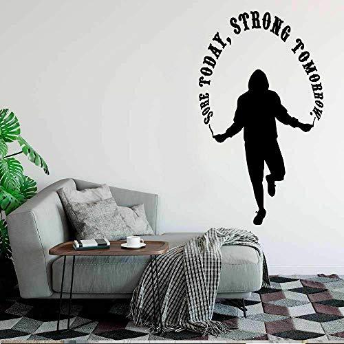 Wopiaol Wandsticker voor het trainen van pijn, Vandaag Forte Morgen citaat, motivatie, voor slaapkamer, fitnessstudio, interieur, sticker voor ramen van vinyl