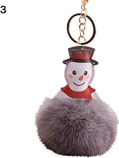 Sanwooden Cute Key Chain Faux Leather Christmas Snowman Key Chain Ring Keychain Fluffy Ball Car Bag Decor Girl Fashion Accessories