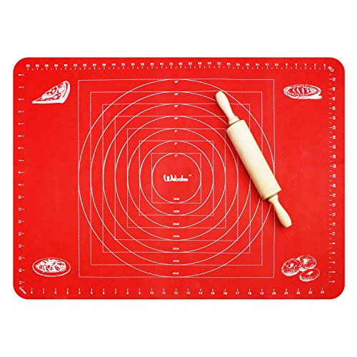 Webake Extra Large Silicone Pastry Baking Mat for Dough Rolling with Measurements 26 x 18 Inch, Non-Slip Cookie Pizza Pie Mat, Baking Sheet Liner Countertop Protector (Red)