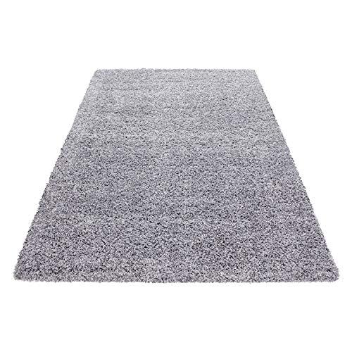 Teppich Hochflor Shaggy Teppich Unicolor einfarbig Teppich farbecht Pflegeleicht, Maße:60 cm x 110 cm, Farbe:Hellgrau