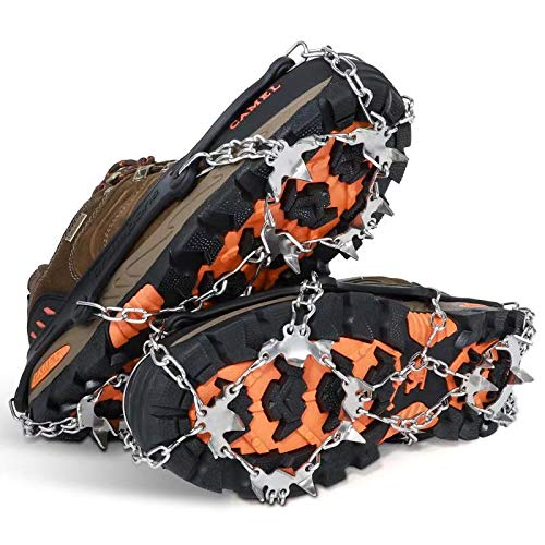 SPGOOD Ice Cleats Crampons 1 Pair for Boots Shoes Women Men Kids 19 Stainless Spikes Traction Cleats Fishing Hiking Walking Mountaineering Climbing (19 Spikes-Black, XL)