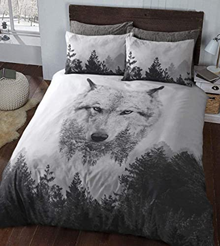 Juego de funda de edredón tamaño king 220 x 230 cm, funda de edredón para niños, diseño de lobo bosque, color blanco