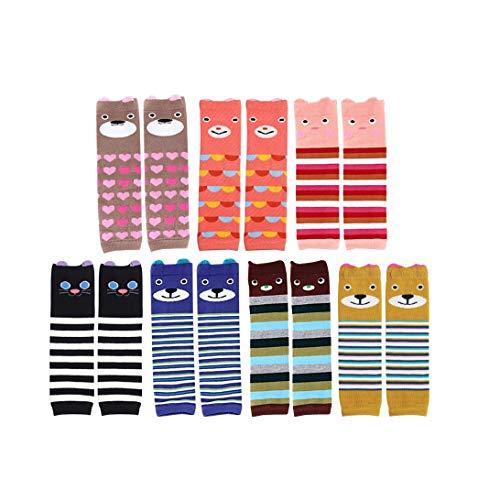OFKPO 7 Paar Baby Kniestrümpfe aus Baumwolle,Unisex Mädchen Jungen Lang Knie Socken