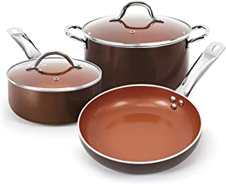 SHINEURI Copper Nonstick 5 pieces Cookware Set Pots and Frying Pans Set, Nonstick Ceramic Sauce Pan with Stainless Steel Handles & Lid, Suitable for Induction, Electric, Gas and Stovetops