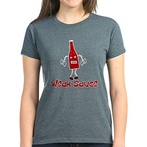 CafePress - Weak Sauce – Damen T-Shirt aus Baumwolle Gr. M, Charcoal Heather