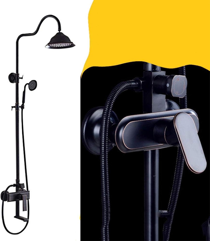 G&F Duschsystem,Duschsule Brausestangenset Mit Thermostat Massagendüsen, Regendusche Handbrause Glasablage überkopfbrause Verstellbare Wandhalterung, 2 Strahlarten,L1
