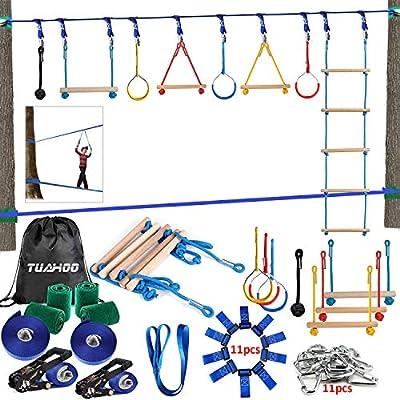TUAHOO 300lbs Ninja Warrior Obstacle Course - 2 x Ninja Line Slackline Obstacles Swing for Kids Adults Family Outdoor Activities Ninja Training Kits ( Plus 1.2M Arm Trainer )