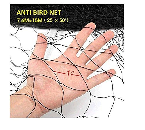 Damofy Filet Anti Oiseaux 7.6m x 15m Jardin Protègent Le Filet pour Arbres Fruitiers Pigeon la Volaille Noir Maille de Jardin(Taille du Trou 6cm x 6cm)