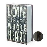 Scatola portaoggetti per libro di scorta per dizionario, con serratura/chiave a combinazione di sicurezza, cassaforte nascosto per libro di sbalzi (combinazione, amore)