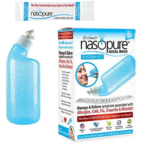 "Nasopure Nasal Wash, System Kit, ""The Nicer Neti Pot"" Sinus Wash Kit, Comfortable Nasal Rinse 8 Oz Bottle & 20 Salt Packets (3.75 Grams Each), Nasal Congestion, Cold, Flu, Allergy, Nasal Irrigation"