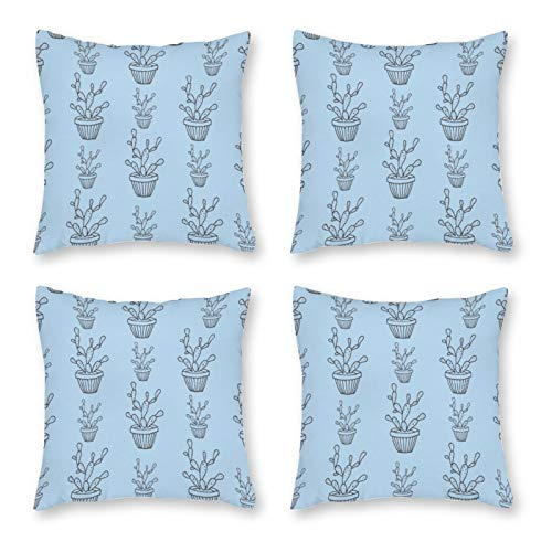 None-brands Pillow Covers Throw Cushion Cover Look Decorative Pillowcases For Sofa 18 X 18 Inch Set Of 4 No Pillow Insert Cactus Tropical Garden Theme Blue Pattern