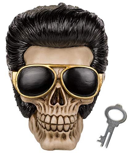 Bada Bing Spardose Totenkopf Schädel Mit Tolle Und Sonnenbrille Ca. 16 x 14 cm Rockabilly Skull Geschenk Deko 66