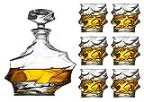 Decantador de whisky Decantador de vinos de 7 piezas Set Large vino Decanter Set Bar Carafe y 6 gafas de whisky de vino con tope Cristal Conjunto de vinos Sello de decoración Sello de decoración Bodeg