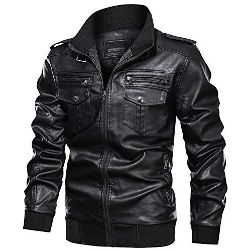 KEFITEVD フェイクレザージャケット シングル 合革 ライダースジャケット 防風 メンズ アメリカン ミリタリー ジャンパー 合皮 ブルゾン カジュアル 黒 ブラック 2XL
