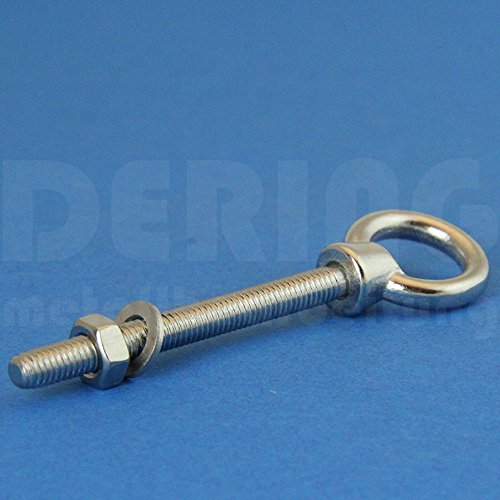 DERING Ringschraube mit metrischem Gewinde M12 X 120 Edelstahl A4 (VPE = 2 Stück) | Augbolzen M12x120 | Ösenschraube | Augenschraube mit U-Scheibe u. Mutter | Transportsicherung