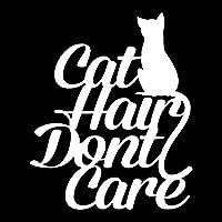 ステッカー 12.4cm X 15cm猫の髪は気にしないファッションアクセサリー車のステッカービニール ステッカー (Color : White)
