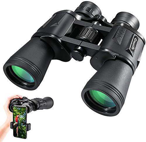Hochleistungs Fernglas CrazyFire 10x50 Ferngläser Nachtsicht Wasserdicht Feldstecher FMC Binoculars mit Tragetasche und Mobiltelefonadapter Outdoor Teleskop für Wandern Jagd Fußballspiele Stargazing