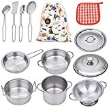 VIPAMZ My First Play Kitchen Toys Pretend Cooking Toy Cookware Playset for Kids 11-Pieces Stainless Steel Pots and Pans with Cooking Utensils -Dishwasher Safe