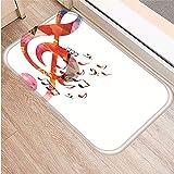 HLXX Musical Instrument Pattern Anti-Slip Suede Carpet Door Mat Doormat Outdoor Kitchen Living Room Floor Mat rug A9 40x60cm
