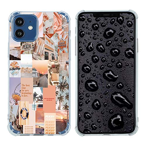 Case for iPhone 12/12 Pro, Vintage Vibe Collage Aesthetic Retro The Best Time Slim Case TPU Bumper Shockproof Protective Cover Case for Women Girls Support Wireless Charging