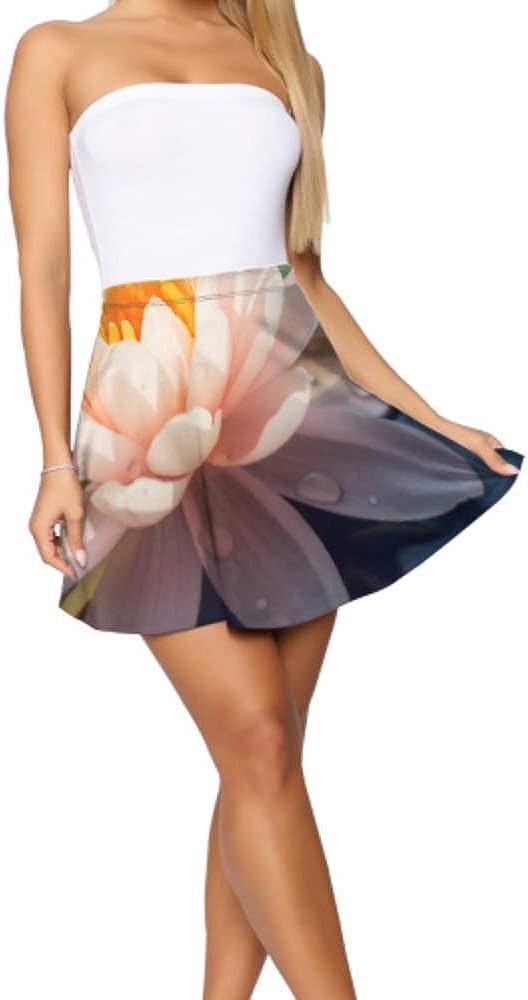Flared Skater Skirt Beautiful Lotus Flower Floral in Pond Summer Skater Skirt Women's Basic Casual Women Flared Skirt S-XL