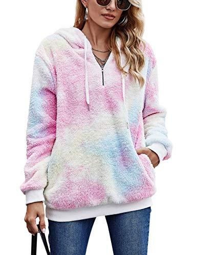 iWoo Hoodie Pullover Bequem Lässig Langarm Teddy Jacke Mit Kapuze Einfarbig Plüsch Winter Pullover Damen Warm(Gelbrosa,L)