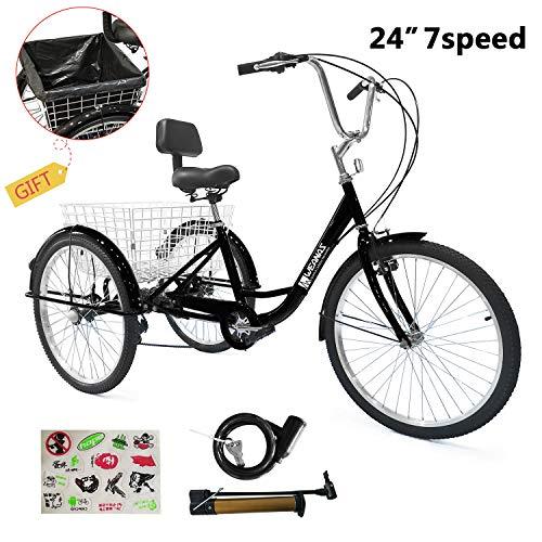 Weanas 7 Speed 24 Inch Adult Tricycle Trike Cruiser Bike Three-Wheeled Bicycle Men's Women's Cycling...