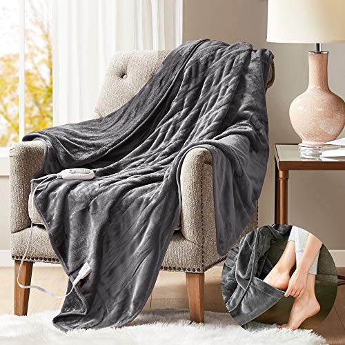 Degrees of Comfort Heated Blanket with Foot Pocket Grey 60x70