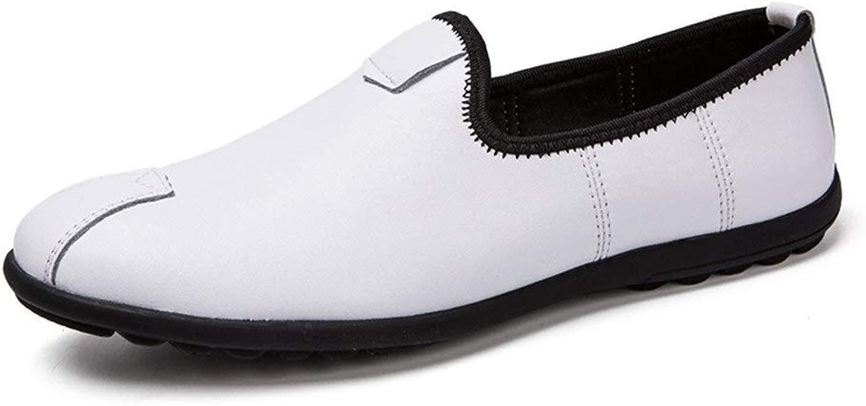 SGTGB Kaixinuo Penny Schlupfschuhe für Herren Casual Schuhe Slip-on leicht dünn rutschfest flach Business Walking Driving Round Toe Vegan Kunstleder, Weiß - Weiß - Größe  43 EU
