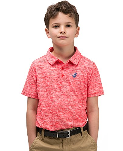 Jolt Gear Youth Boys Golf Dri Fit Polo Shirt, Breathable Performance Fit, Salmon Red