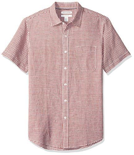 Amazon Essentials, camicia da uomo, a maniche corte, in lino, a quadretti, slim, Red Gingham, US XS (EU XS)
