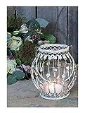Windlicht Shabby chic antik Creme-weiß Blumen-Dekor