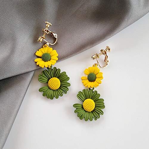 Boemia di Stile Coreano Due Orecchini di Fiori della Margherita per Le Donne Temperamento Clip Fiore Giallo Giallo Sull'orecchino Senza Piercing