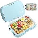 Lunchbox mit 6 Unterteilten Fächern Robust und Auslaufsicher Brotzeitbox,Box Kinder Brotdose,1000ML Jausenbox Mikrowellen und Spülmaschinen, Brotbox für Kindergarten, Schule und Picknick…