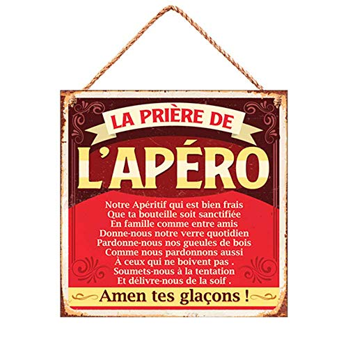 Rétro Plaque Deco Metal 20 x 20 cm LA PRIERE DE L'APERO