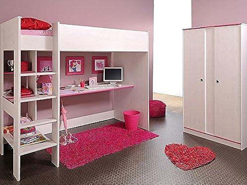 expendio Kinderzimmer Snoopy 4, Hochbett + Schrank 2-türig, Kiefer-Nb Weiß, Kinderbett