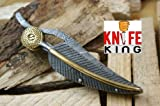 Knife King 'Baby Blue Custom Damascus Handmade Folding/Pocket Survival EDC Blade Knife Comes with Leather Sheath.