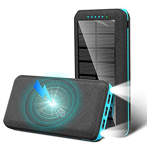 YZDKJDZ Banco De Energía Solar, Cargador Solar Portátil De 10000 MAh, Cargador Inalámbrico Rápido para Exteriores Portátil para Teléfonos Inteligentes, Tabletas