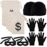 Aneco 12 Pieces Halloween Robber Costume Set, Knit Beanie Cap Gloves Canvas Dollar Sign Money Bags and Bandit Eye Mask for Halloween Burglar Theme Party