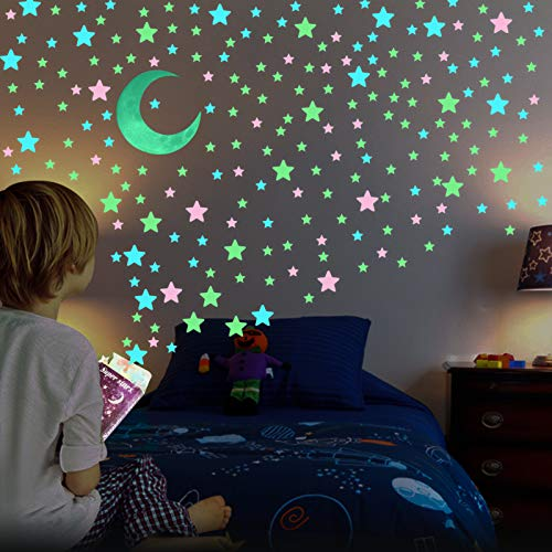 Glow in The Dark Stars for Ceiling - AirXwills 200 Pcs Stars for Ceiling with Ultra Brighter Glow Moons Wall Decor, Kids Room Decor for Girls and Boys, 4D Glow Stars and Moon for Starry Sky Gift.