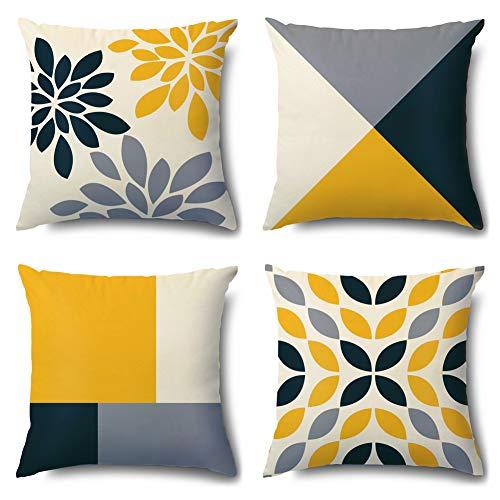 Artscope Juego de 4 fundas de almohada de terciopelo suave, diseño geométrico, amarillo y gris, para sofá, dormitorio, sala de estar, decoración del hogar, 45,7 x 45,7 cm