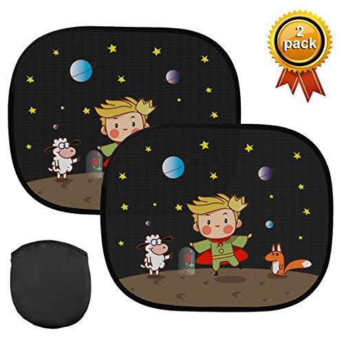 Kungber Auto Sonnenschutz Baby - Sonnenblende für Kinder Autofenster (2 Stück) | 44x36cm | mit UV Schutz inkl. Tasche (Prince)
