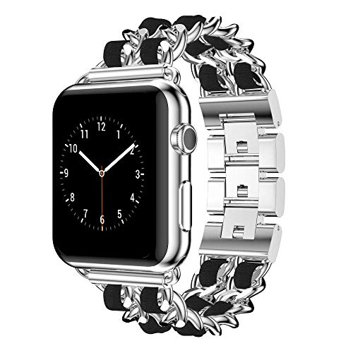 DamonLight Compatible for Apple Watch Band 38mm Women, Jewelry Bracelet Silver Dressy Bling Wristband 40mm iWatch Series 6 5 4 3 2 1 SE