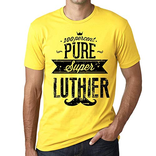 Hombre Camiseta Vintage T-Shirt Gráfico 100% Pure LUTHIER Amarillo