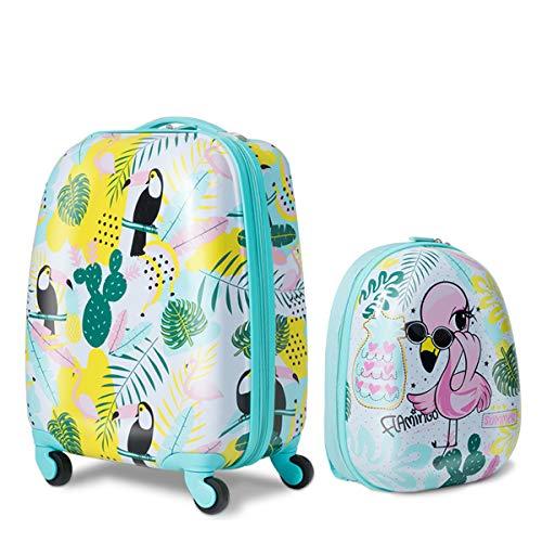 DREAMADE 2tlg. Kinderkoffer mit Rucksack, Koffer Set Kinder Koffer, Kindertrolley Kindergepäck Handgepäck für Mädchen und Jungen, Reisegepäck Hartschalenkoffer (Grün)